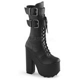 Kunstlæder 16 cm CRAMPS-202 plateau damestøvler med spænder