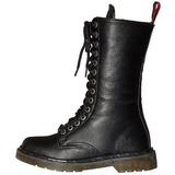 Kunstlæder 3,5 cm RIVAL-300 Sorte punk støvler med snørebånd