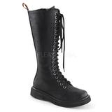 Kunstlæder 3,5 cm RIVAL-400 Sorte punk støvler med snørebånd