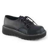 Kunstlæder 3 cm LILITH-99 Sorte punk sko med snørebånd