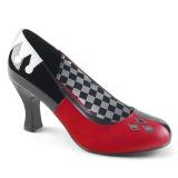 Kunstlæder 7,5 cm HARLEY-42 Pinup pumps sko med lave hæle
