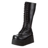 Kunstlæder 8,5 cm TRASHVILLE-502 Sorte punk støvler med snørebånd mænd