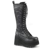 Kunstlæder 9 cm SCENE-107 Sorte punk støvler med snørebånd