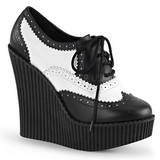 Kunstlæder CREEPER-307 wedges creepers sko med kilehæle