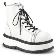 Kunstlæder boots 5 cm SLACKER-55 Hvide ankelstøvler med snørebånd