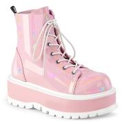 Kunstlæder boots 5 cm SLACKER-55 Rosa ankelstøvler med snørebånd