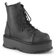 Kunstlæder boots 5 cm SLACKER-55 Sorte ankelstøvler med snørebånd
