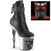 LED Kranium plateau 20 cm pleaser højhælede boots - krom