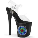 LED pære plateau 20 cm LIGHTNING-808 højhælede sandaler - pole dance high heels