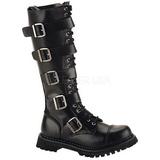 Læder RIOT-18BK Punk Støvler til Mænd Gothic Støvler