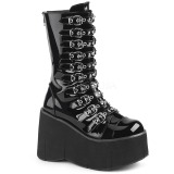 Laklæder 11,5 cm DEMONIA KERA-50 gothic støvler med plateau