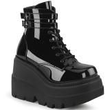 Laklæder 11,5 cm SHAKER-52 demonia alternativ kilehæl boots plateau sort