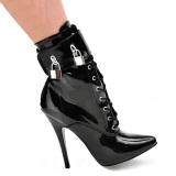 Laklæder 15 cm DOMINA-1023 Sorte ankelstøvler med stilethæl