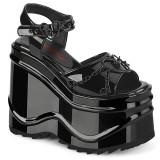 Laklæder 15 cm Demonia WAVE-09 lolita plateau sandaler med kilehæle