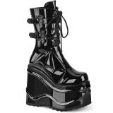Laklæder 15 cm WAVE-150 demonia støvler med kilehæle