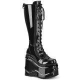 Laklæder 15 cm WAVE-200 demonia støvler med kilehæle