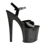 Laklæder 19 cm Pleaser TABOO-709MG glitter plateau high heels sko