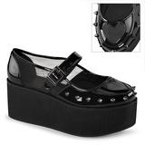Laklæder 7 cm GRIP-01 lolita sko gothic plateausko med tykke såler