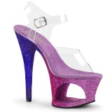 Lavender glitter 18 cm Pleaser MOON-708OMBRE Pole dancing high heels shoes