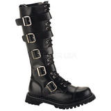 Leather RIOT-18BK Punk Boots Gothic Mens Boots