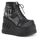 Leatherette 12 cm STOMP-18 lolita ankle boots wedge platform