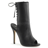 Leatherette 13 cm AMUSE-1018 peep toe ankle boots womens