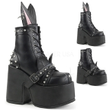 Leatherette 13 cm DEMONIA CAMEL-202 goth ankle boots with rivets
