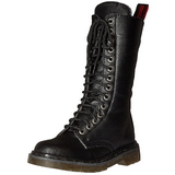 Leatherette 3,5 cm RIVAL-300 Black punk boots with laces