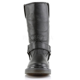 Leatherette 3,5 cm RIVAL-303 Black motorcycle boots with buckles