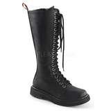 Leatherette 3,5 cm RIVAL-400 Black punk boots with laces