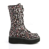 Leatherette 5 cm EMILY-340 womens buckle boots with platform