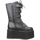 Leatherette 9 cm DAMNED-225 womens buckle boots with platform