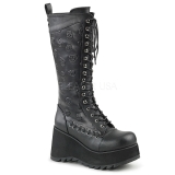 Leatherette 9 cm SCENE-107 Black punk boots with laces