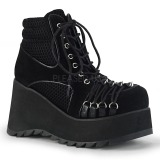 Leatherette 9 cm SCENE-32 ankle boots wedge platform