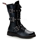 Leatherette Black DEFIANT-303 Mens Lace Up Boots