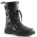 Leatherette Black DEFIANT-306 Mens Buckle Boots