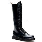 Leatherette Black DEFIANT-400 Mens Lace Up Boots
