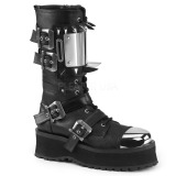 Leatherette Black GRAVEDIGGER-250 Mens Buckle Boots