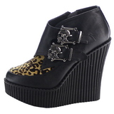 Leopard Leatherette CREEPER-306 creepers wedges women shoes