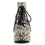 Leopard Mønster 13 cm BRAVO-23 Ankelstøvler Kilehæle Wedge Støvletter