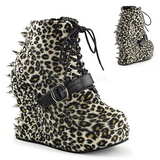 Leopard Pattern 13 cm BRAVO-23 Platform Wedge Ankle Boots
