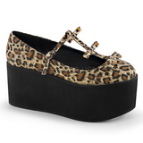 Leopard lærred 8 cm CLICK-08 gothic plateausko lolita sko tykke såler