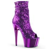 Lilla 18 cm ADORE-1008SQ ankelstøvler til damer med pailletter