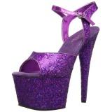 Lilla 18 cm ADORE-710LG glitter plateau high heels sko