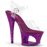 Lilla 18 cm MOON-708LG glitter plateau high heels sko