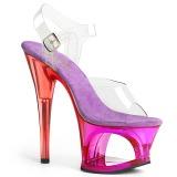 Lilla 18 cm MOON-708MCT Akryl plateau high heels sko