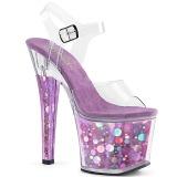 Lilla 18 cm RADIANT-708BHG Hologram plateau high heels sko