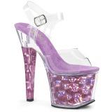 Lilla 18 cm RADIANT-708HHG Hologram plateau high heels sko