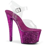 Lilla 18 cm SKY-308LG glitter plateau high heels sko