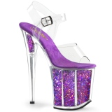 Lilla 20 cm FLAMINGO-808GF glitter plateau high heels sko